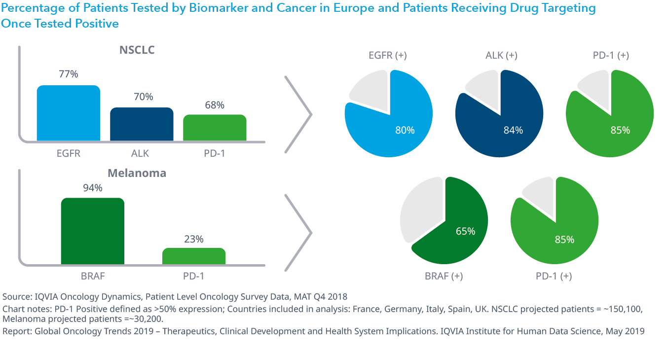 Chart 26: Percentage of Patients Tested by Biomarker and Cancer in Europe and Patients Receiving Drug Targeting Once Tested Positive