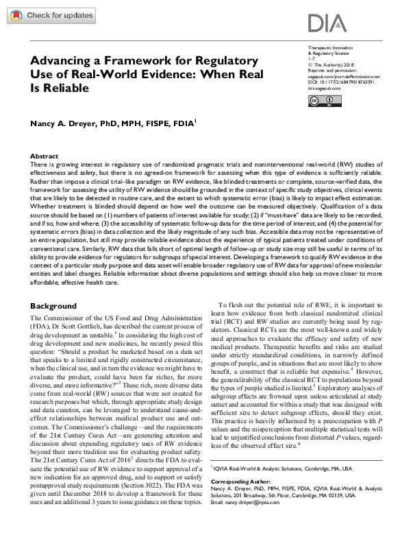 Advancing a Framework for Regulatory Use of Real World Evidence
