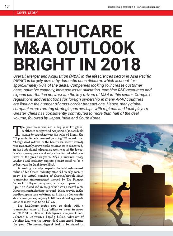 BioSpectrum Asia Healthcare M and A Outlook Bright in 2018