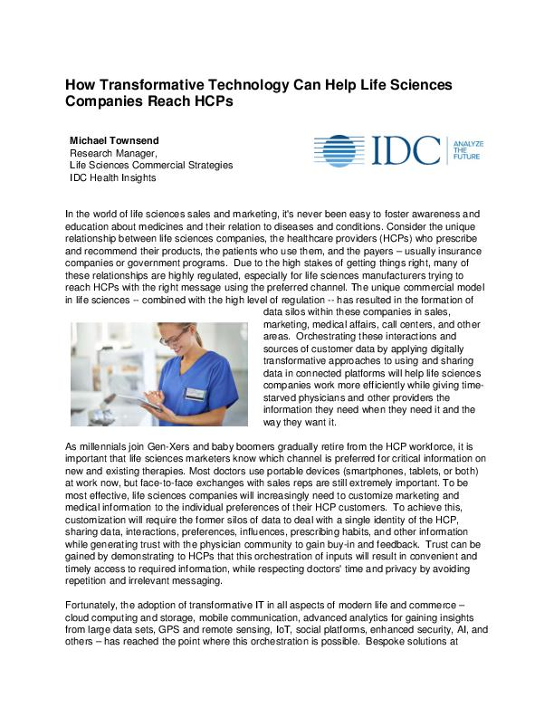 How Transformative Technology Can Help Life Sciences Companies Reach HCPs