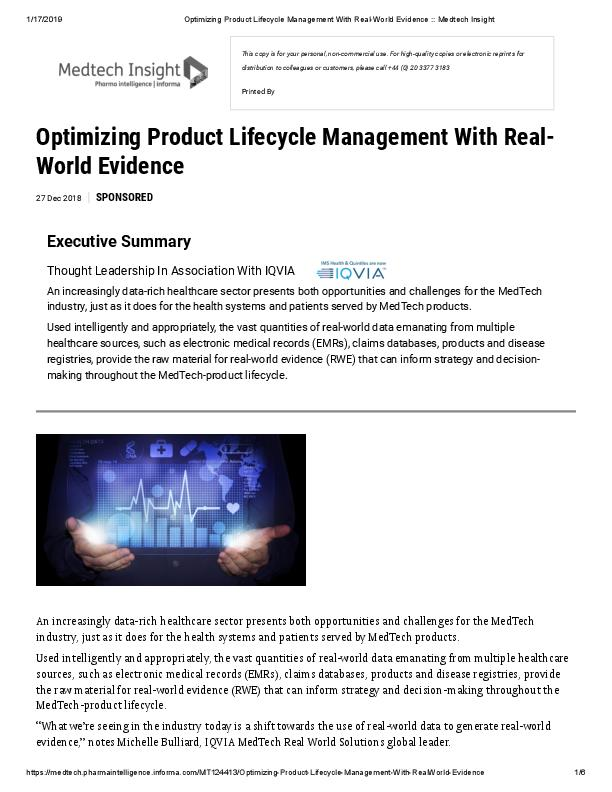 Optimizing Product Lifecycle Management With Real-World Evidence