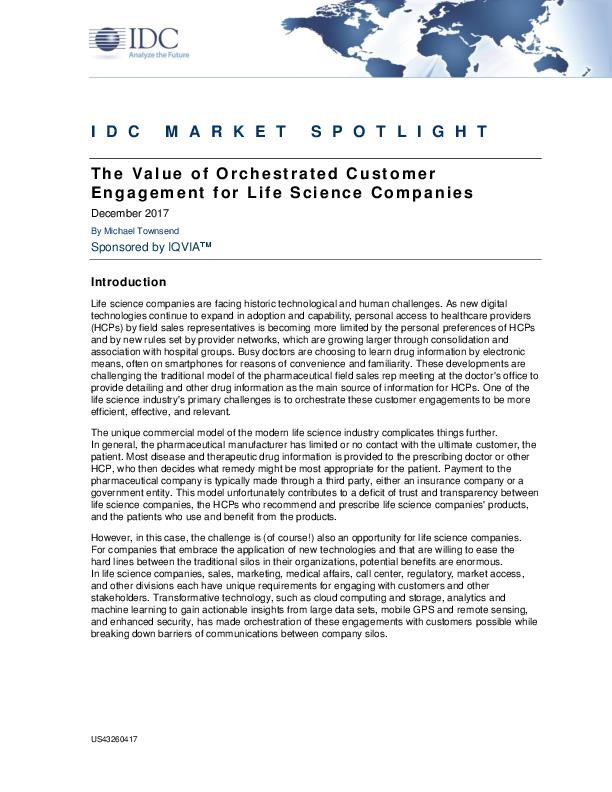The Value of Orchestrated Customer Engagement for Life Science Companies